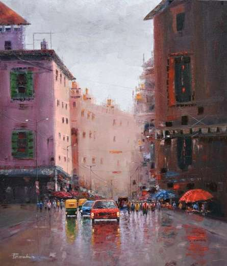 Cityscape Oil Art Painting title Bright Morning by artist Purnendu Mandal