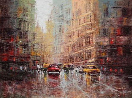 Cityscape Oil Art Painting title 'City Scape 2' by artist Purnendu Mandal