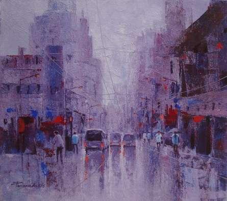 Cityscape Acrylic Art Painting title 'Cityscape V' by artist Purnendu Mandal