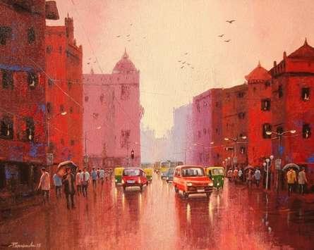 Cityscape Acrylic Art Painting title Cityscape II by artist Purnendu Mandal