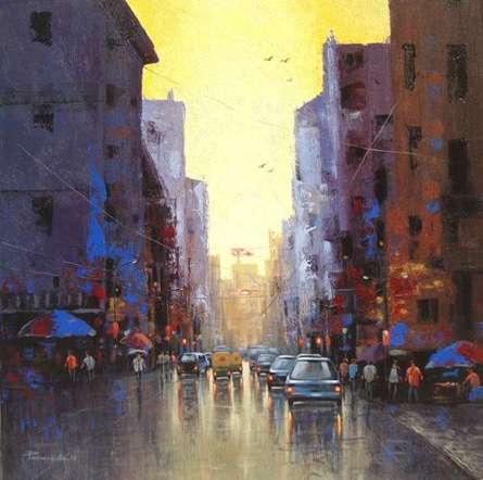 Cityscape Acrylic Art Painting title 'Cityscape IV' by artist Purnendu Mandal