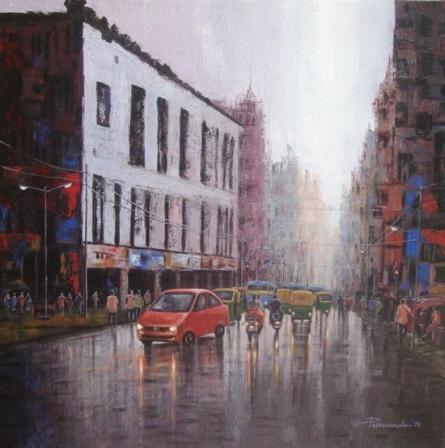 Cityscape Acrylic Art Painting title City Traffic by artist Purnendu Mandal