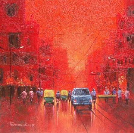 Cityscape Acrylic Art Painting title 'First Light' by artist Purnendu Mandal