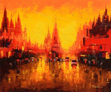 Cityscape Oil Art Painting title 'First Light 2' by artist Purnendu Mandal