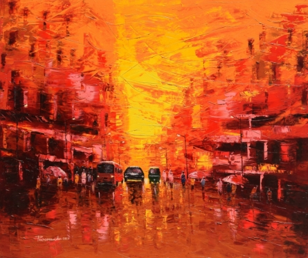 Cityscape Oil Art Painting title 'First Light' by artist Purnendu Mandal