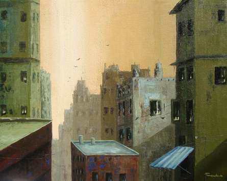 Cityscape Acrylic Art Painting title 'Good Morning' by artist Purnendu Mandal