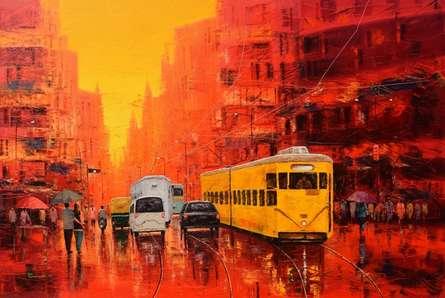 Cityscape Oil Art Painting title Good Morning Kolkata by artist Purnendu Mandal