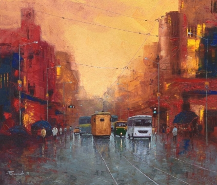 Good Morning Kolkata 5 | Painting by artist Purnendu Mandal | oil | Canvas