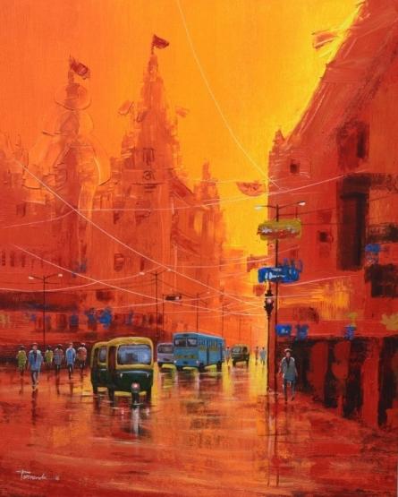 Good Morning Kolkata 7 | Painting by artist Purnendu Mandal | acrylic | Canvas