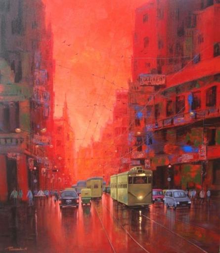 Good Morning Kolkata I | Painting by artist Purnendu Mandal | acrylic | Canvas