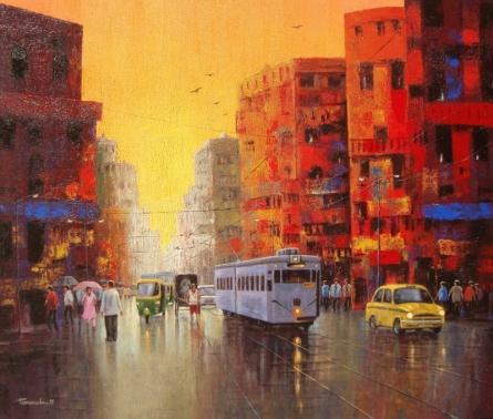 Good Morning Kolkata II   Painting by artist Purnendu Mandal   acrylic   Canvas
