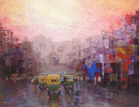 Cityscape Acrylic Art Painting title Good Morning Kolkata II by artist Purnendu Mandal