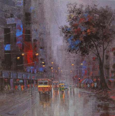 Cityscape Acrylic Art Painting title Monsoon Shower by artist Purnendu Mandal