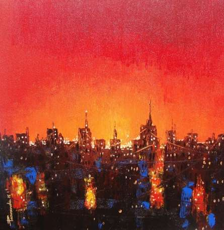 Purnendu Mandal | Acrylic Painting title Night In City on Canvas | Artist Purnendu Mandal Gallery | ArtZolo.com