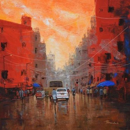 Orange Sky | Painting by artist Purnendu Mandal | acrylic | Canvas