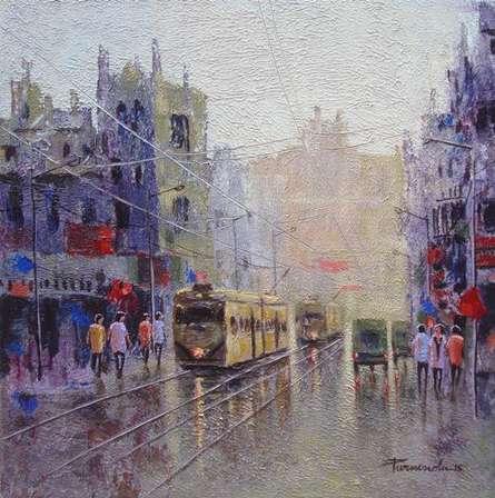 Cityscape Acrylic Art Painting title 'Rainy Day In Kolkata' by artist Purnendu Mandal