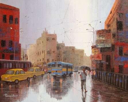 Cityscape Acrylic Art Painting title Rainy Day In Kolkata II by artist Purnendu Mandal