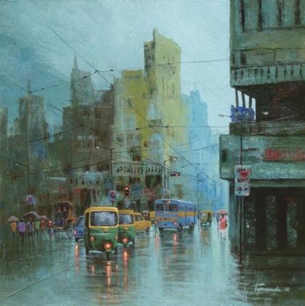 Cityscape Acrylic Art Painting title 'Rainy Day In Kolkata II' by artist Purnendu Mandal