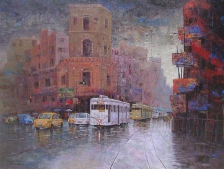 Rainy Day In Kolkata III | Painting by artist Purnendu Mandal | acrylic | Canvas