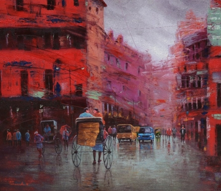 Rickshaw Puller In Kolkata 4 | Painting by artist Purnendu Mandal | oil | Canvas
