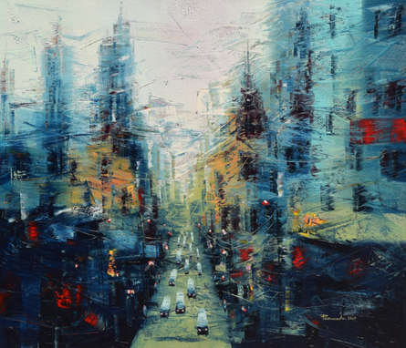 Cityscape Oil Art Painting title 'The City Of Joy 2' by artist Purnendu Mandal