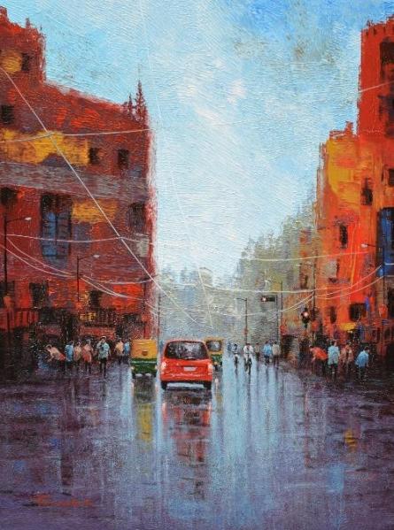 Cityscape Acrylic Art Painting title 'Wet Street' by artist Purnendu Mandal