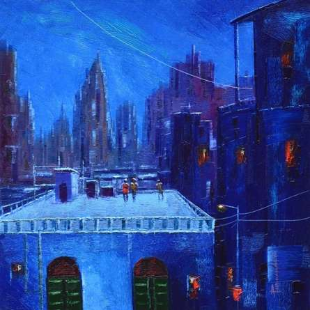 Winter | Painting by artist Purnendu Mandal | oil | Canvas