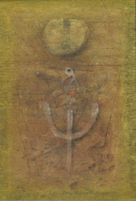 Abstract Oil Art Painting title The Trishul Abstract II by artist Ramesh Thorat