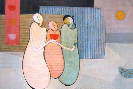 Figurative Acrylic Art Painting title 'Family' by artist Dattatraya Thombare