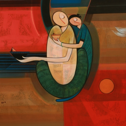 Figurative Acrylic Art Painting title 'Father And Child' by artist Dattatraya Thombare