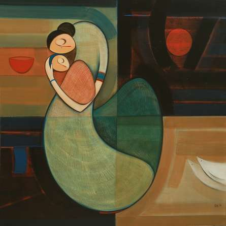 Figurative Acrylic Art Painting title 'Mother And Child 2' by artist Dattatraya Thombare