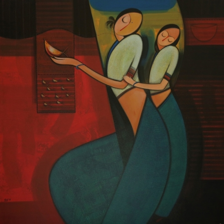 Motherhood 1 | Painting by artist Dattatraya Thombare | acrylic | Canvas