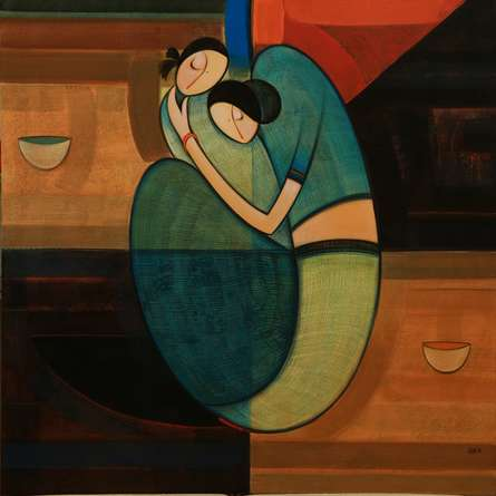 Figurative Acrylic Art Painting title Motherhood 2 by artist Dattatraya Thombare