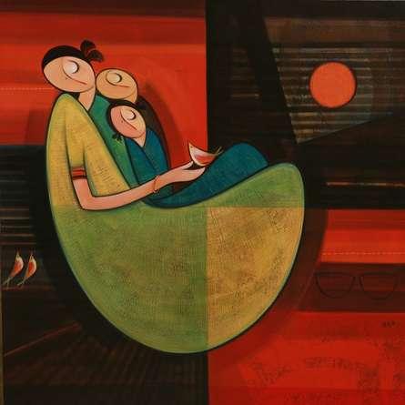 Dattatraya Thombare | Acrylic Painting title Motherhood 3 on Canvas | Artist Dattatraya Thombare Gallery | ArtZolo.com