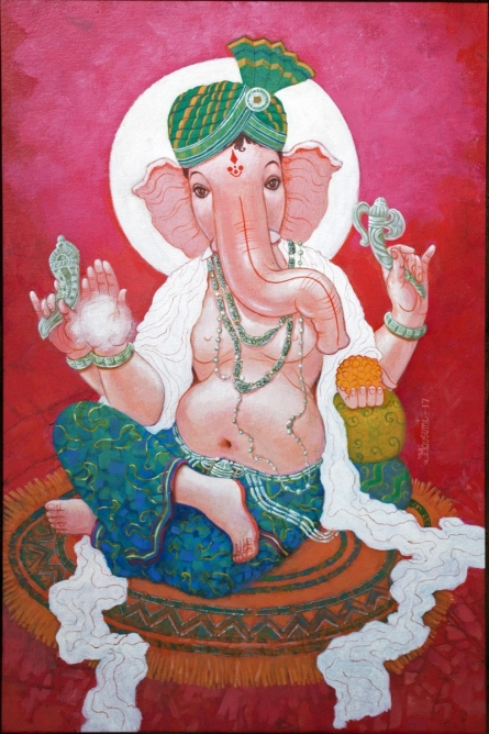 Religious Acrylic Art Painting title 'Siddhi Vinayak' by artist Mousumi Pal Majumdar