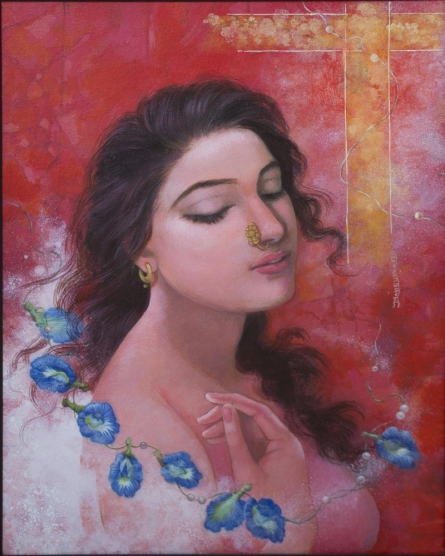 Figurative Acrylic Art Painting title 'Title fantasizing' by artist Mousumi Pal Majumdar