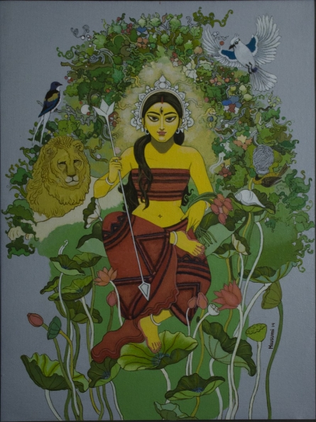 Durga with nature | Painting by artist Mousumi Pal Majumdar | acrylic | Canvas