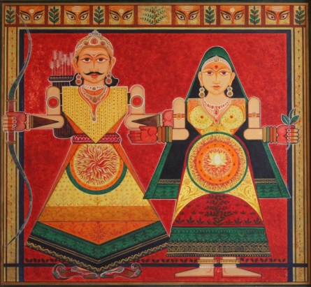 Figurative Acrylic Art Painting title Raja Rani by artist Satish Chavhan
