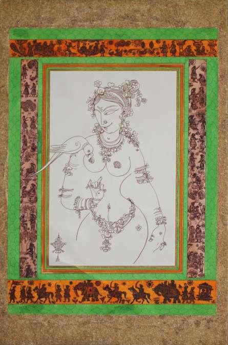 Figurative Watercolor Art Painting title 'Tarunai' by artist Satish Chavhan