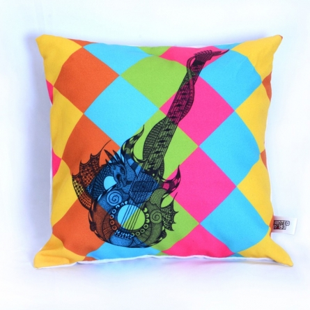 Designer Guitar Cushion | Craft by artist Sejal M | Canvas