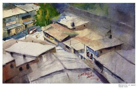 Landscape Watercolor Art Painting title 'Indoor outdoor' by artist Sourabh Nema
