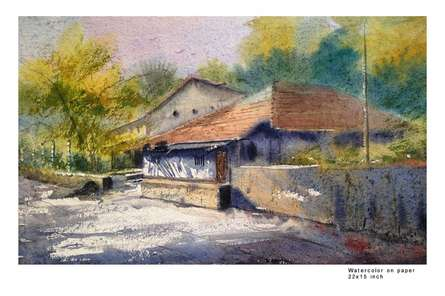 Morning light | Painting by artist Sourabh Nema | watercolor | Handmade Paper