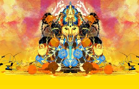 Shri Ganesha Abstract 04 | Digital_art by artist Pradip Shinde | Art print on Canvas