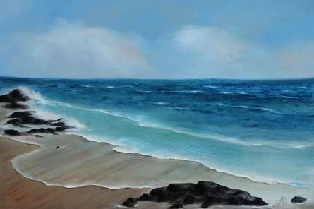 Seascape Oil Art Painting title 'Blue Bliss' by artist Persis Chhapkhanawalla