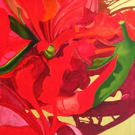Abstract Acrylic Art Painting title 'The Red Flower I' by artist Balaji G. Bhange