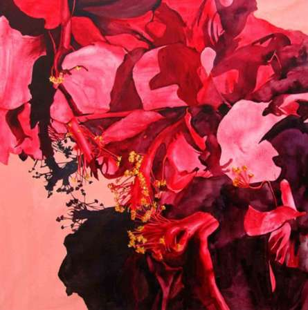 Fuchsia Flowers | Painting by artist Balaji G. Bhange | acrylic | Canvas