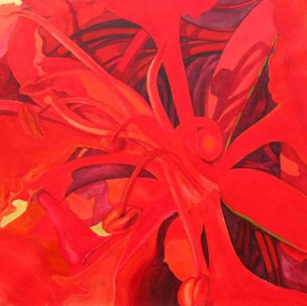 Nature Acrylic Art Painting title The Red Flower II by artist Balaji G. Bhange