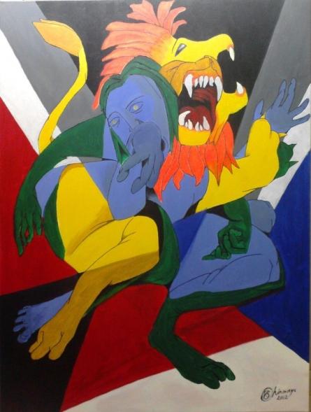Avatar Series-narasimha | Painting by artist Chinmaya BR | acrylic | Canvas