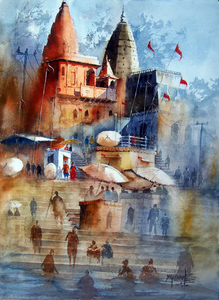 Cityscape Watercolor Art Painting title Beautiful Banaras by artist Sanjay Dhawale