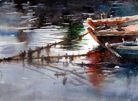 Seascape Watercolor Art Painting title 'Three Boat' by artist Sanjay Dhawale